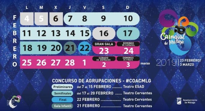 Programación Carnaval de Málaga 2019